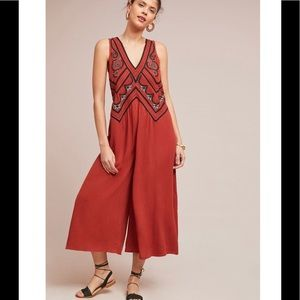 MAEVE Desert Embroidered Rust Jumpsuit sz 6